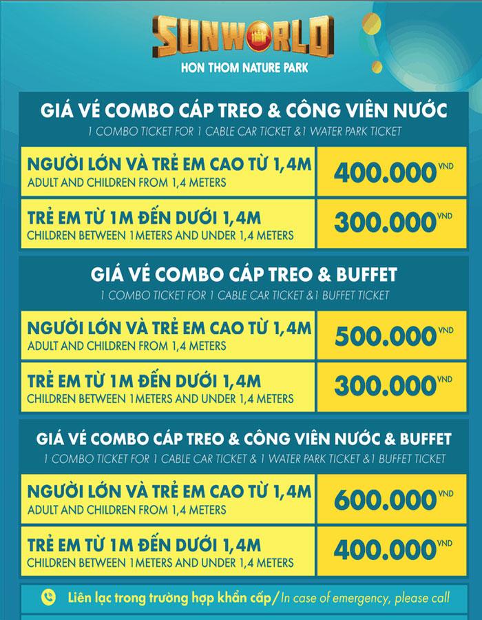 Bảng giá vé combo du lịch Hòn Thơm
