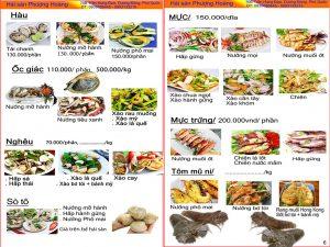 menu Nhà hàng Hải sản Phượng Hoàng Phú Quốc